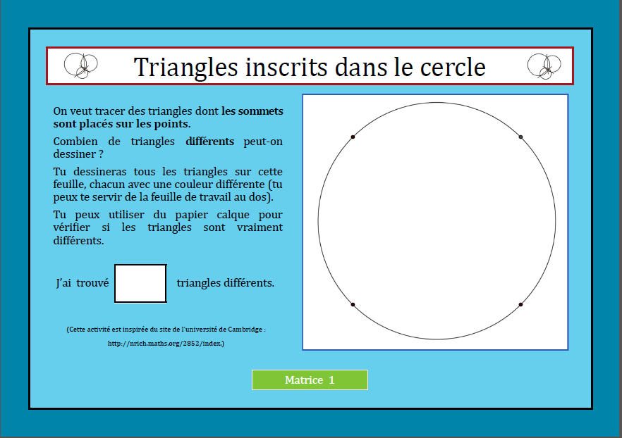 Triangles inscrits dans un cercle